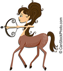 Sagittarius: Zodiac Girl Series with Clipping Path