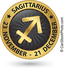 Sagittarius zodiac gold sign, sagittarius symbol vector illustration