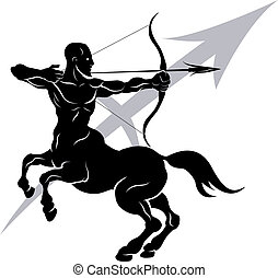 Illustration of Sagittarius the archer or centaur zodiac horoscope astrology sign