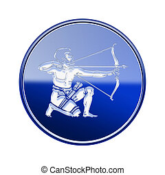 Sagittarius zodiac icon blue, isolated on white background