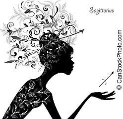 sagittarius., zodiac, mode, meisje, meldingsbord
