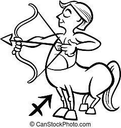 sagittarius zodiac sign cartoon - Black and White Cartoon...