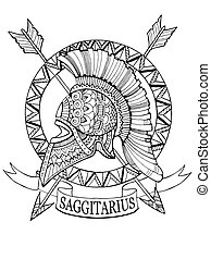 Sagittarius zodiac sign coloring book vector illustration....