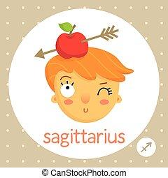 Sagittarius zodiac sign, girl&apple