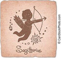 Sagittarius zodiac sign horoscope vintage card.