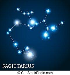 Sagittarius Zodiac Sign of the Beautiful Bright Stars Vector Ill