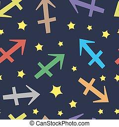 Sagittarius zodiac sign seamless texture