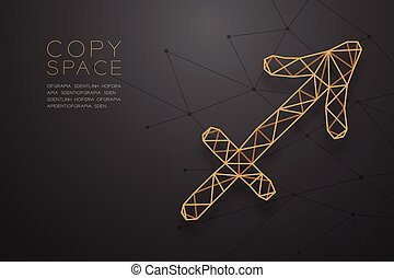 Sagittarius Zodiac sign wireframe Polygon golden frame structure, Fortune teller concept design illustration isolated on black gradient background with copy space, vector eps 10