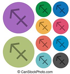 Sagittarius zodiac symbol color darker flat icons