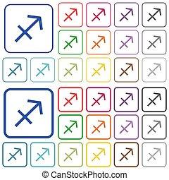 Sagittarius zodiac symbol outlined flat color icons
