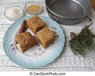 Sago cinnamon sesame cake, cooking vegetarian food with sago...
