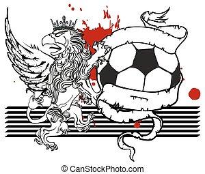sagodjur, täcka, fotboll, crest5, vapen