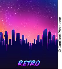 sagoma, 1980s, skyline., onda, illustration., vettore, 80s, ...