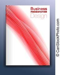 sagoma, affari, astratto, coperchio, fondo, fluente, opuscolo, presentazione, rosso