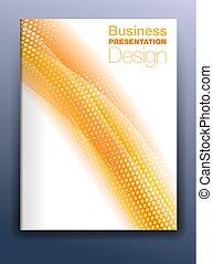 sagoma, affari, astratto, coperchio, opuscolo, fondo, fluente, arancia, presentazione