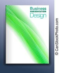 sagoma, affari, astratto, coperchio, sfondo verde, fluente, opuscolo, presentazione