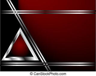 sagoma, affari, profondo, argento, sfondo rosso, o, scheda