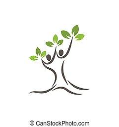 sagoma, albero genealogico, vettore, logotipo