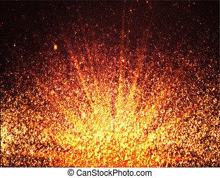sagoma, astratto, -, particelle, disegno, fondo, arancia