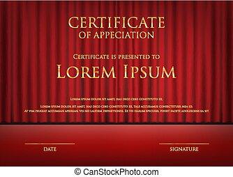 sagoma, certificato, premio, tema, scheda, fondo, tenda, rosso
