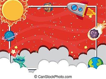 sagoma, cielo, pianeti, molti, fondo, rosso, disegno