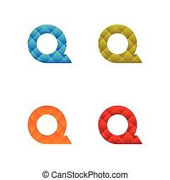 sagoma, colorito, poly, q, vettore, basso, lettera