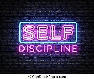 sagoma, disciplina, segno, moderno, notte, disegno, signboard., stesso, disegno, neon, vettore, vector., iscrizione, illustrazione, tendenza