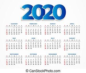 sagoma, disegno, 2020, calendario, pulito