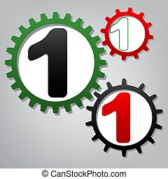sagoma, g, numerare segno, 1, disegno, tre, vector., collegato, element.