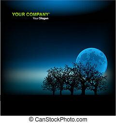 sagoma, illustrazione, fondo, vettore, chiaro di luna