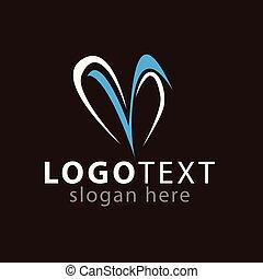 sagoma, iniziale, m, vettore, lettera, logotipo, icona