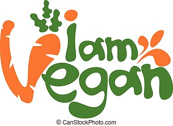 sagoma, iscrizione, illustrazione, vettore, vegan., concetto