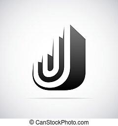 sagoma, j., vettore, disegno, lettera, logotipo