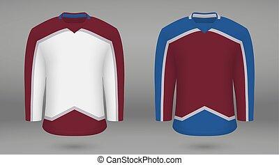 sagoma, jersey, forice, hockey, camicia