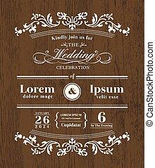 sagoma, legno, vendemmia, invito, tipografia, disegno, fondo, matrimonio