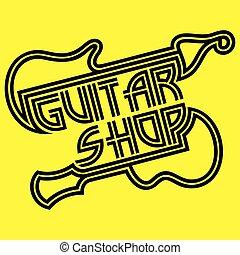 sagoma, linee, giallo, chitarra, vettore, sfondo nero, logotipo, negozio