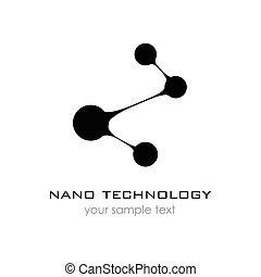 sagoma, logo., nanotechnology., -, nano, logotipo, vettore, presentation., disegno