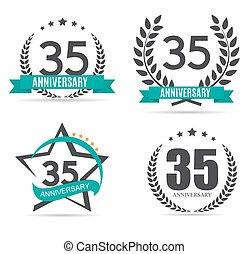 sagoma, logotipo, 35, anni, anniversario, vettore, illustrazione