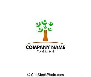 sagoma, logotipo, albero, persone