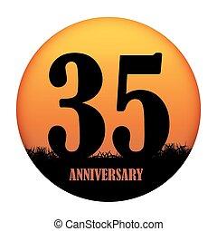 sagoma, logotipo, anniversario, vettore, illustrazione