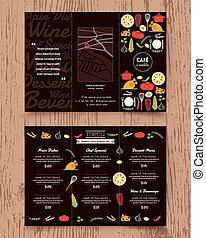 sagoma, menu, disegno, opuscolo, ristorante