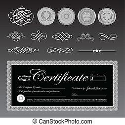 sagoma, ornamenti, certificato, nero, vettore