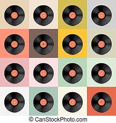 sagoma, retro, disco, -, disco, vinile, vettore, vendemmia