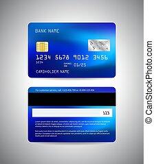sagoma, scheda, credito, lato, indietro, card., fronte, vettore