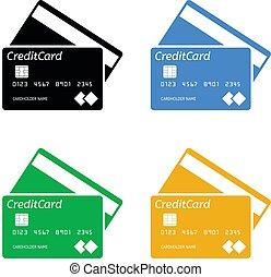 sagoma, scheda, vettore, credito, banca
