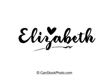 sagoma, scritto, nome, mano, testo, elizabeth, parola, cuore...