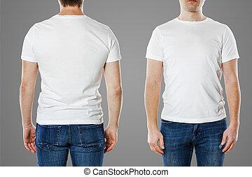 sagoma, t-shirt, vuoto, uomo, giovane