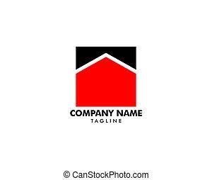sagoma, vettore, disegno, quadrato, illustrazione, casa, logotipo