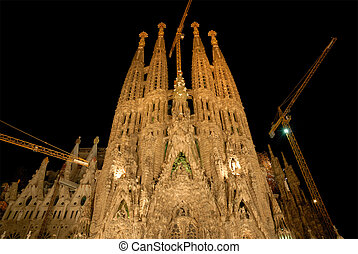 Sagrada Familia at night, Barcelona Spain