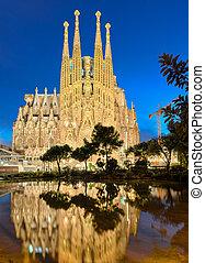 Sagrada Familia at night, Barcelona - Sagrada Familia at...